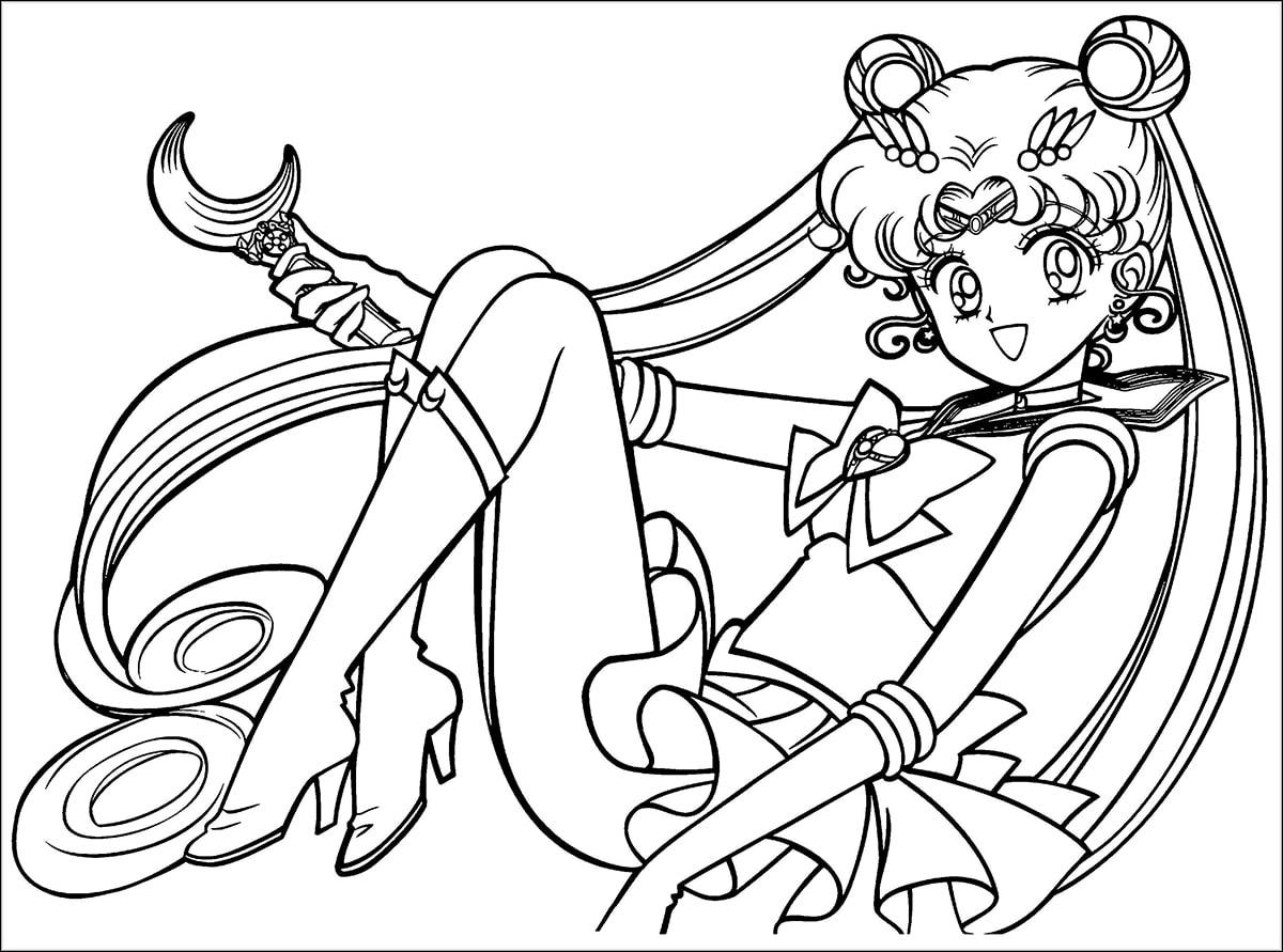 Tranh tô màu anime Thủy thủ mặt trăng