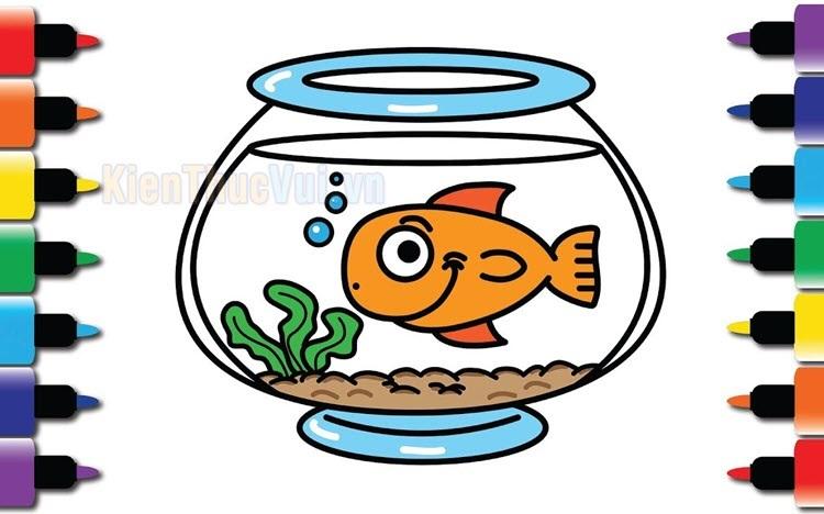 Tranh tô màu cá vàng