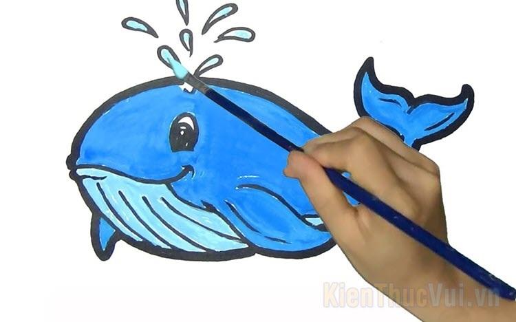 Tranh tô màu cá voi