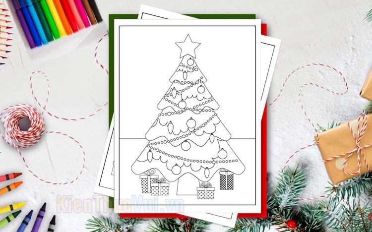 Tranh tô màu cây thông Noel