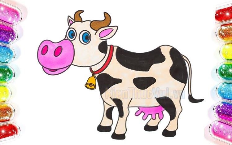 Tranh tô màu con bò cho bé