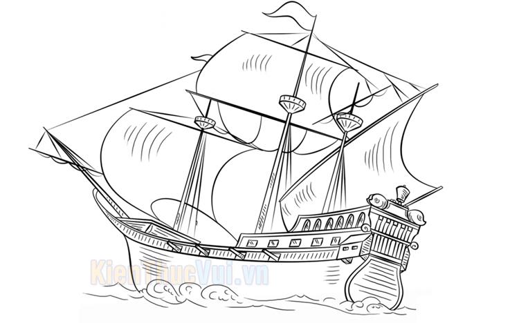 Tranh tô màu con thuyền