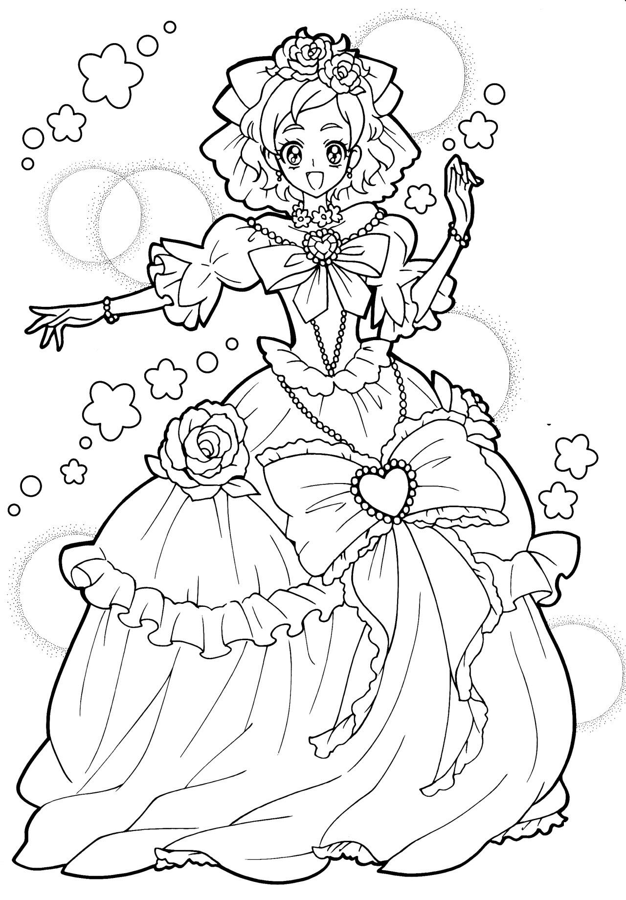 Tranh tô màu công chúa anime dễ thương