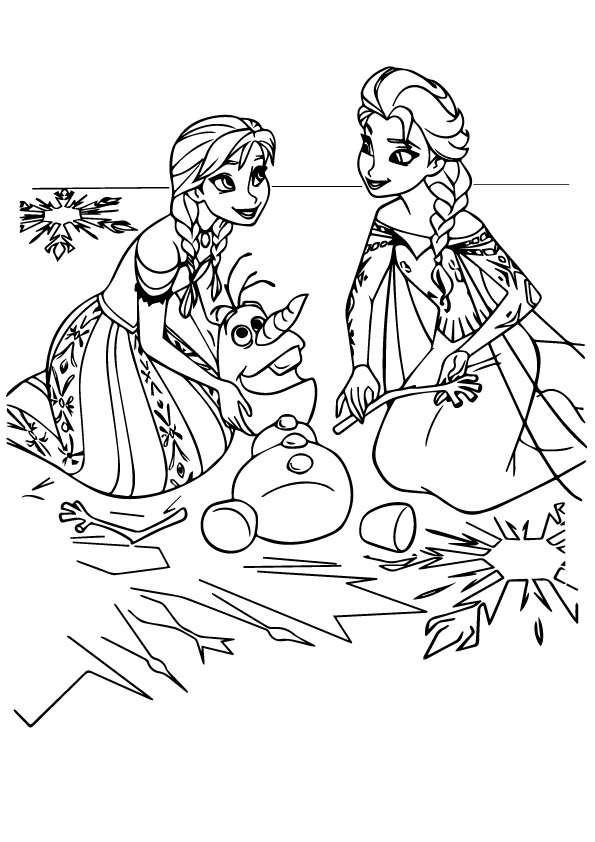 Tranh tô màu công chúa Elsa, Anna chơi với Olaf