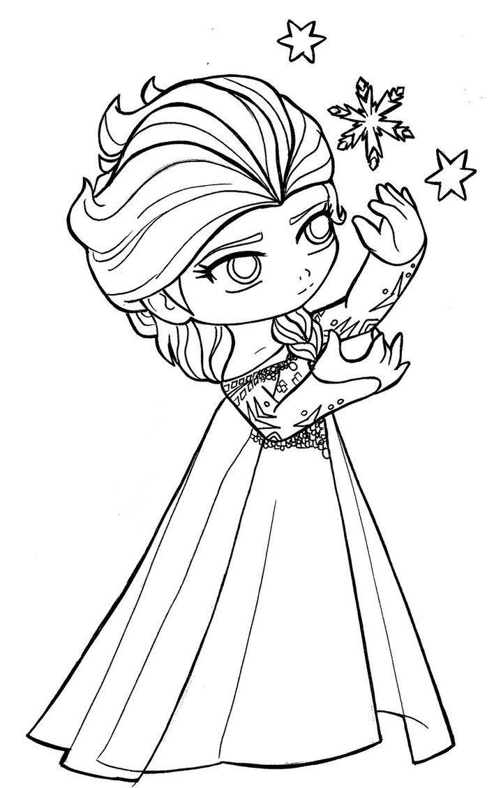 Tranh tô màu công chúa Elsa chibi dễ thương