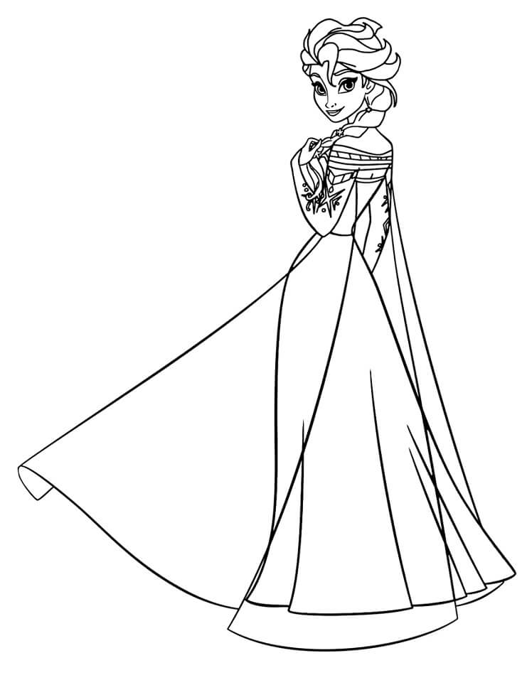 Tranh tô màu công chúa Elsa đang đứng