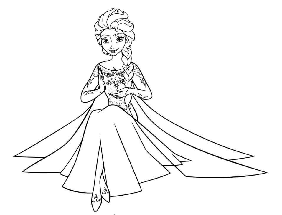 Tranh tô màu công chúa Elsa đang ngồi