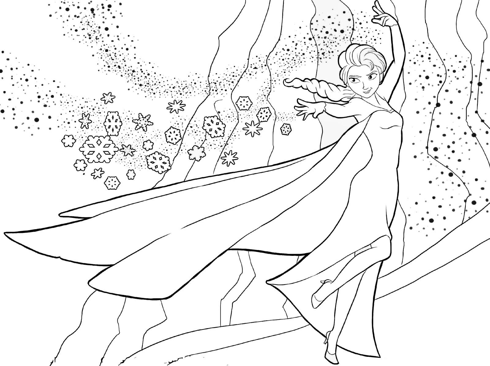 Tranh tô màu công chúa Elsa đang tạo tuyết