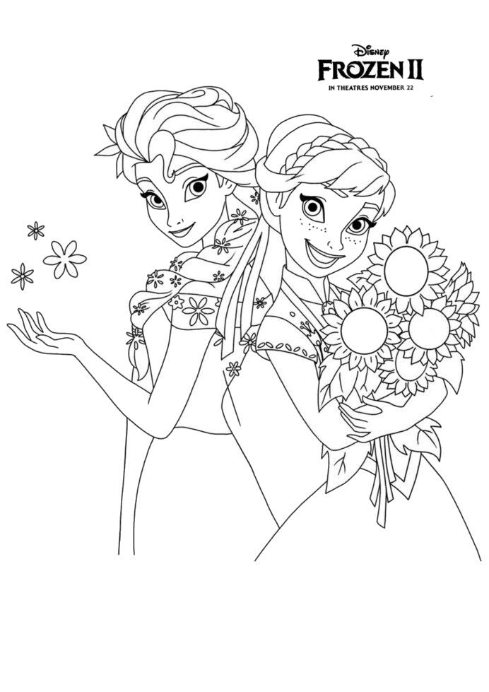 Tranh tô màu công chúa Elsa đẹp cho bé