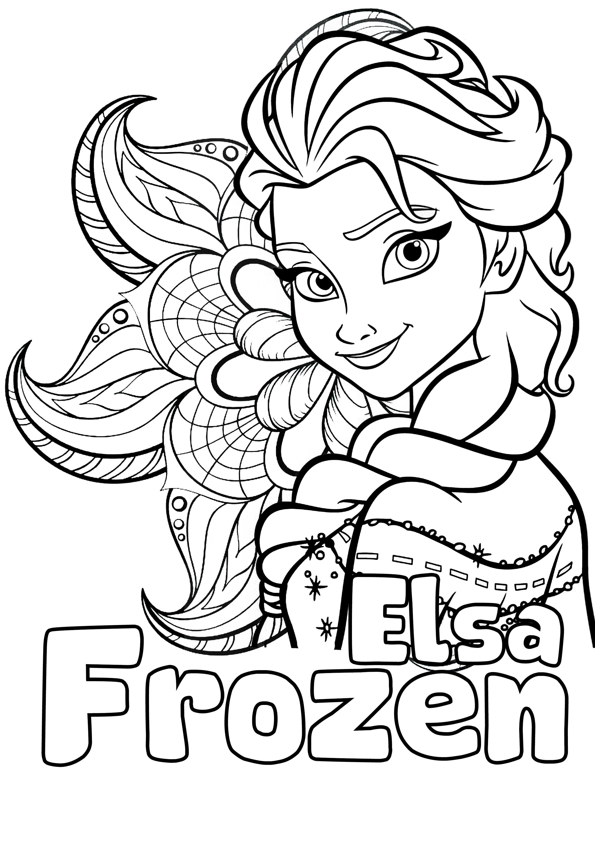 Tranh tô màu công chúa Elsa đơn giản, đẹp nhất