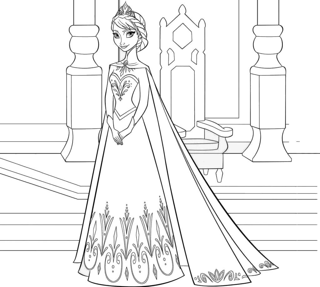 Tranh tô màu công chúa Elsa đơn giản, đẹp