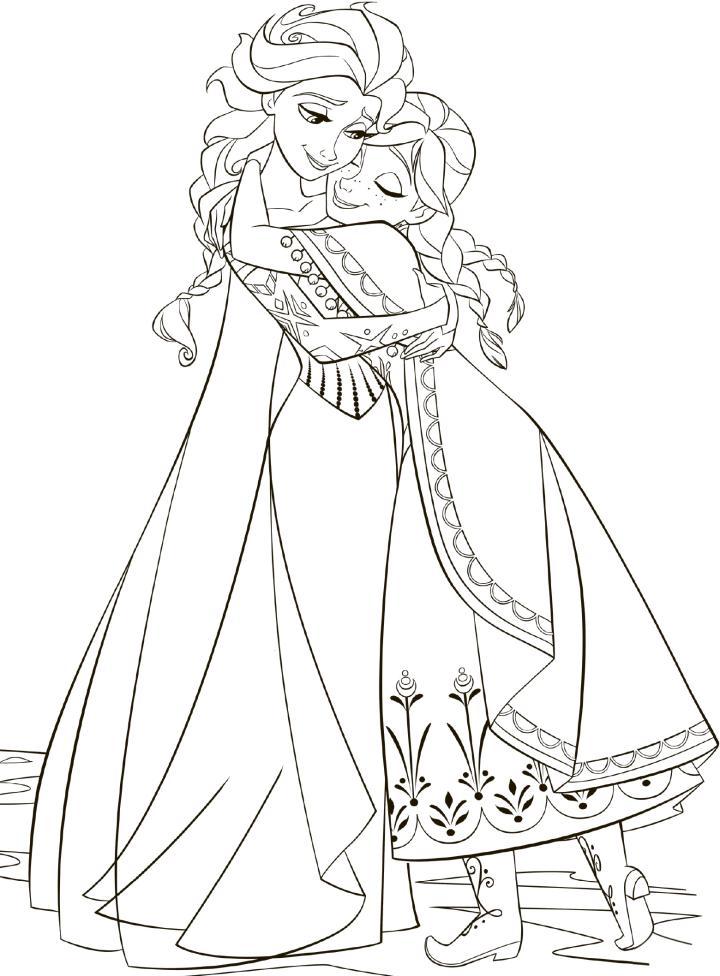 Tranh tô màu công chúa Elsa và Anna đẹp