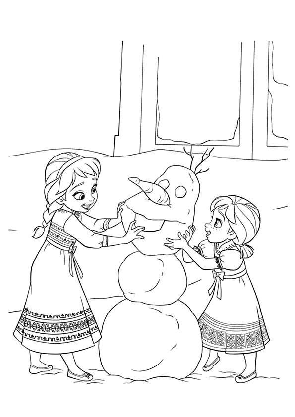 Tranh tô màu công chúa Elsa và Anna lúc nhỏ