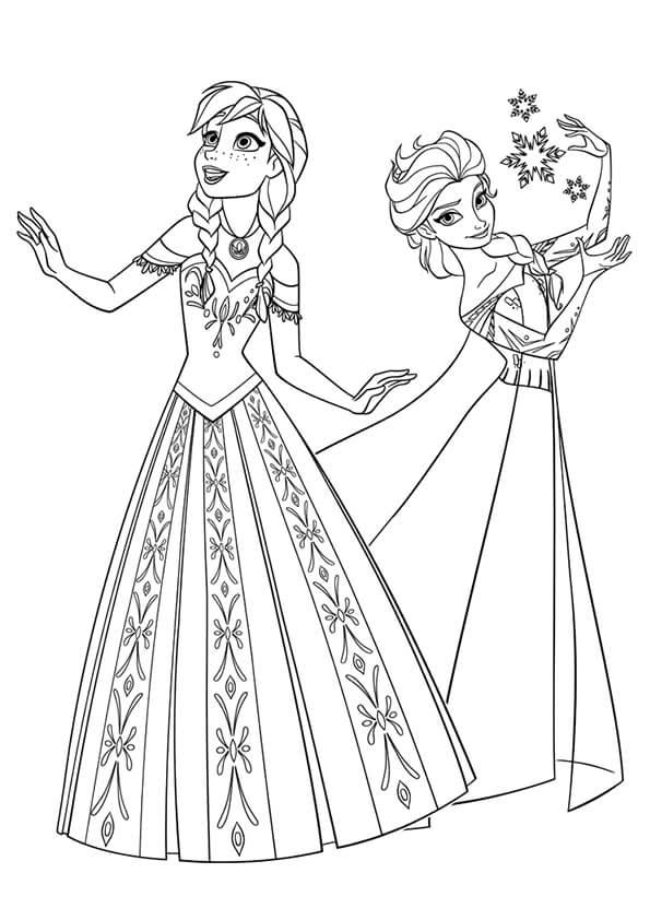 Tranh tô màu công chúa Elsa và Anna lúc trưởng thành