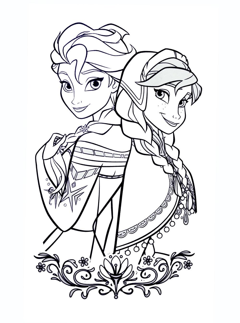 Tranh tô màu công chúa Elsa và Anna xinh đẹp