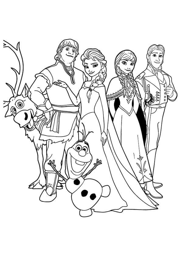 Tranh tô màu công chúa Elsa và các nhân vật trong phim Frozen