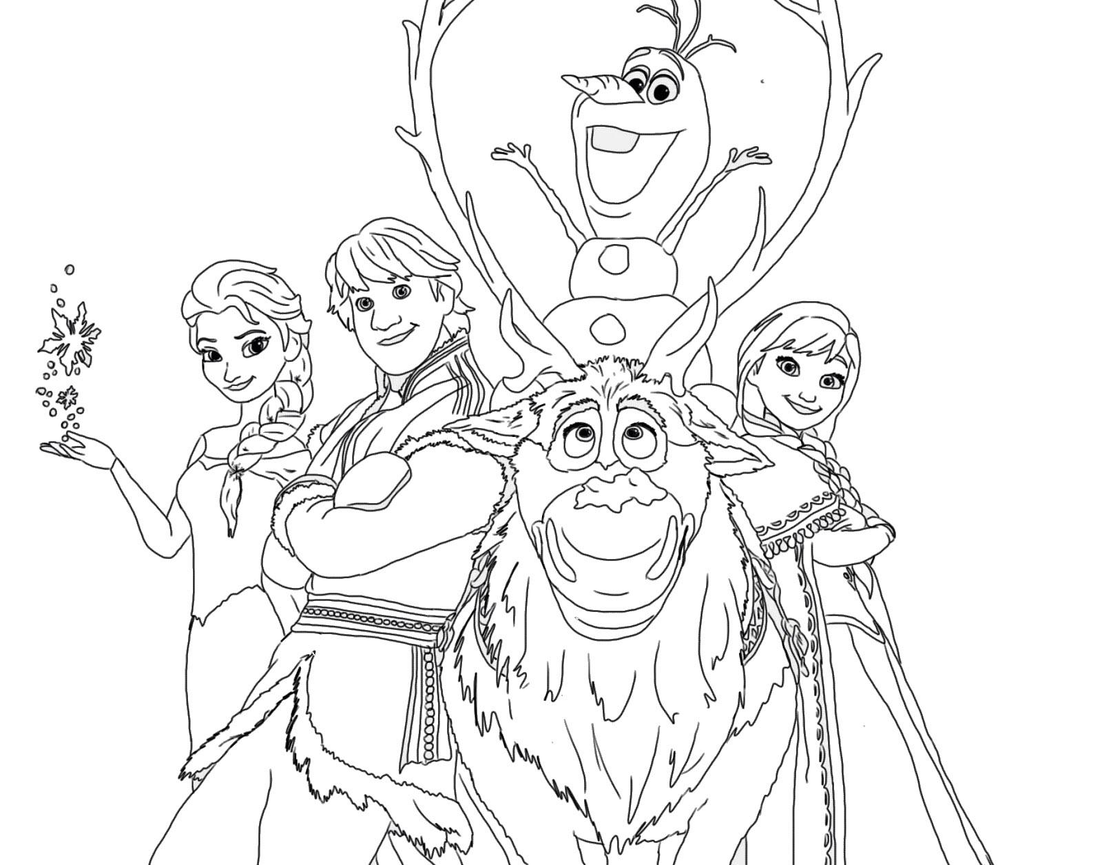 Tranh tô màu công chúa Elsa và những người bạn