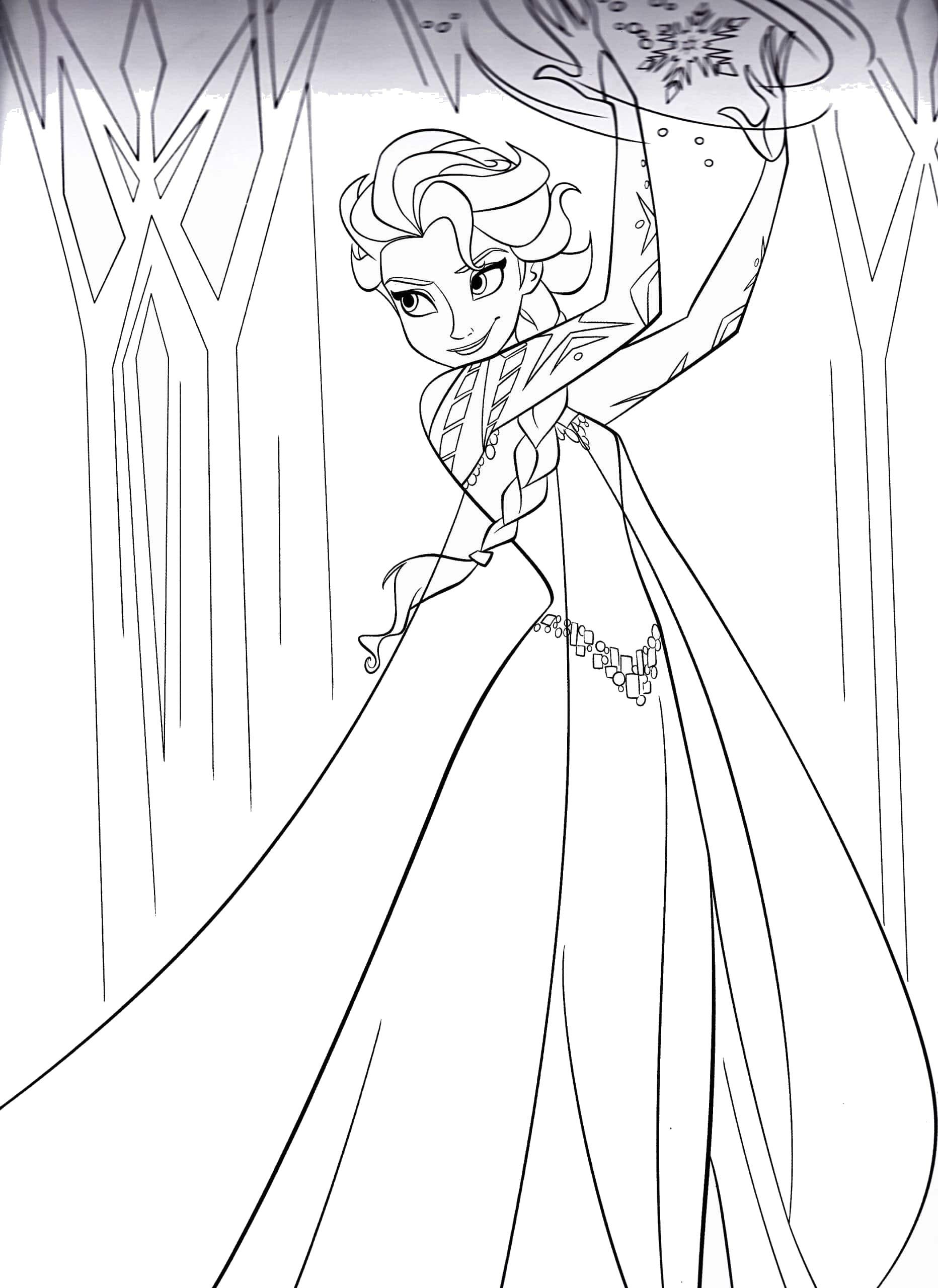 Tranh tô màu công chúa Elsa xinh lung linh