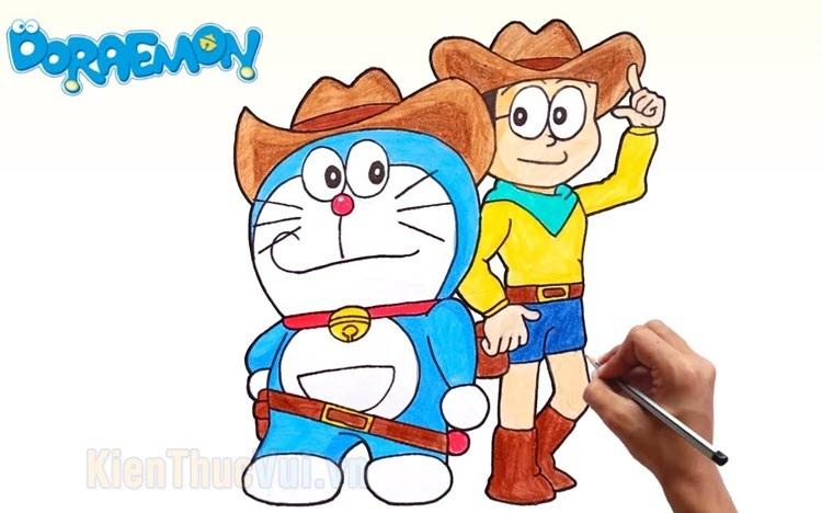 Tranh tô màu Doremon và Nobita