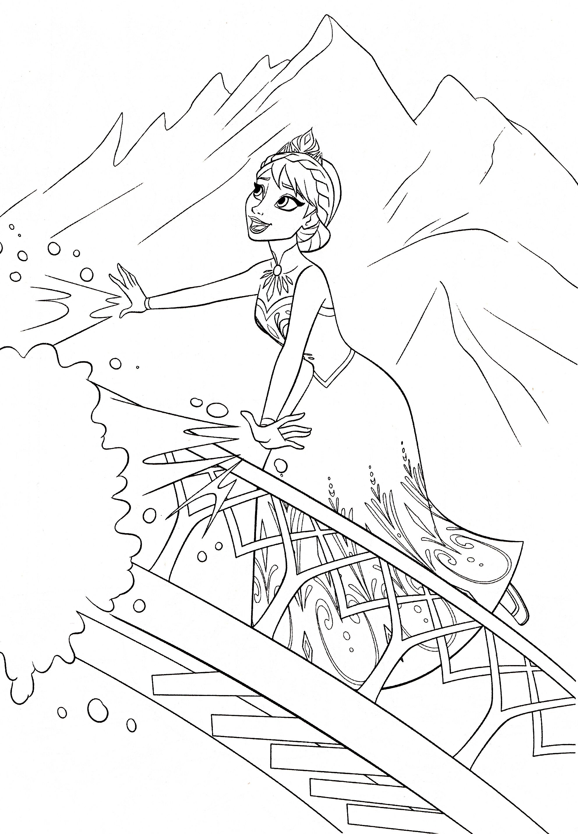 Tranh tô màu Elsa dễ thương