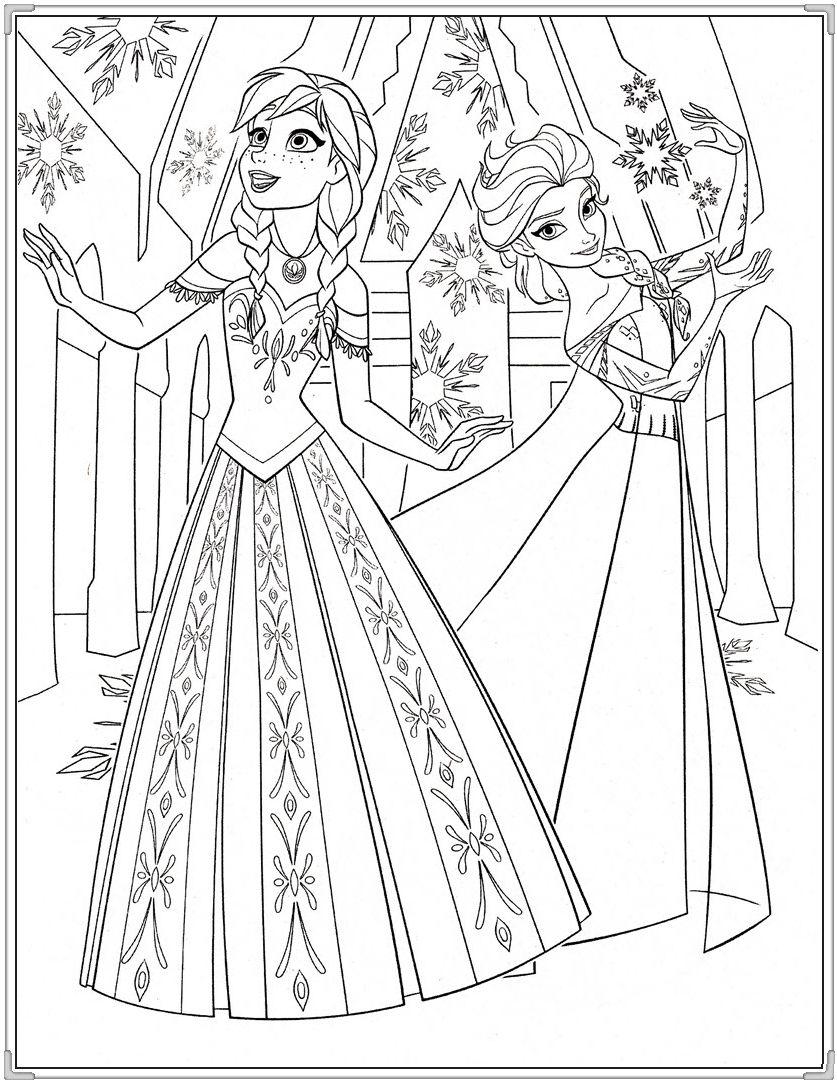 Tranh tô màu Elsa và Anna