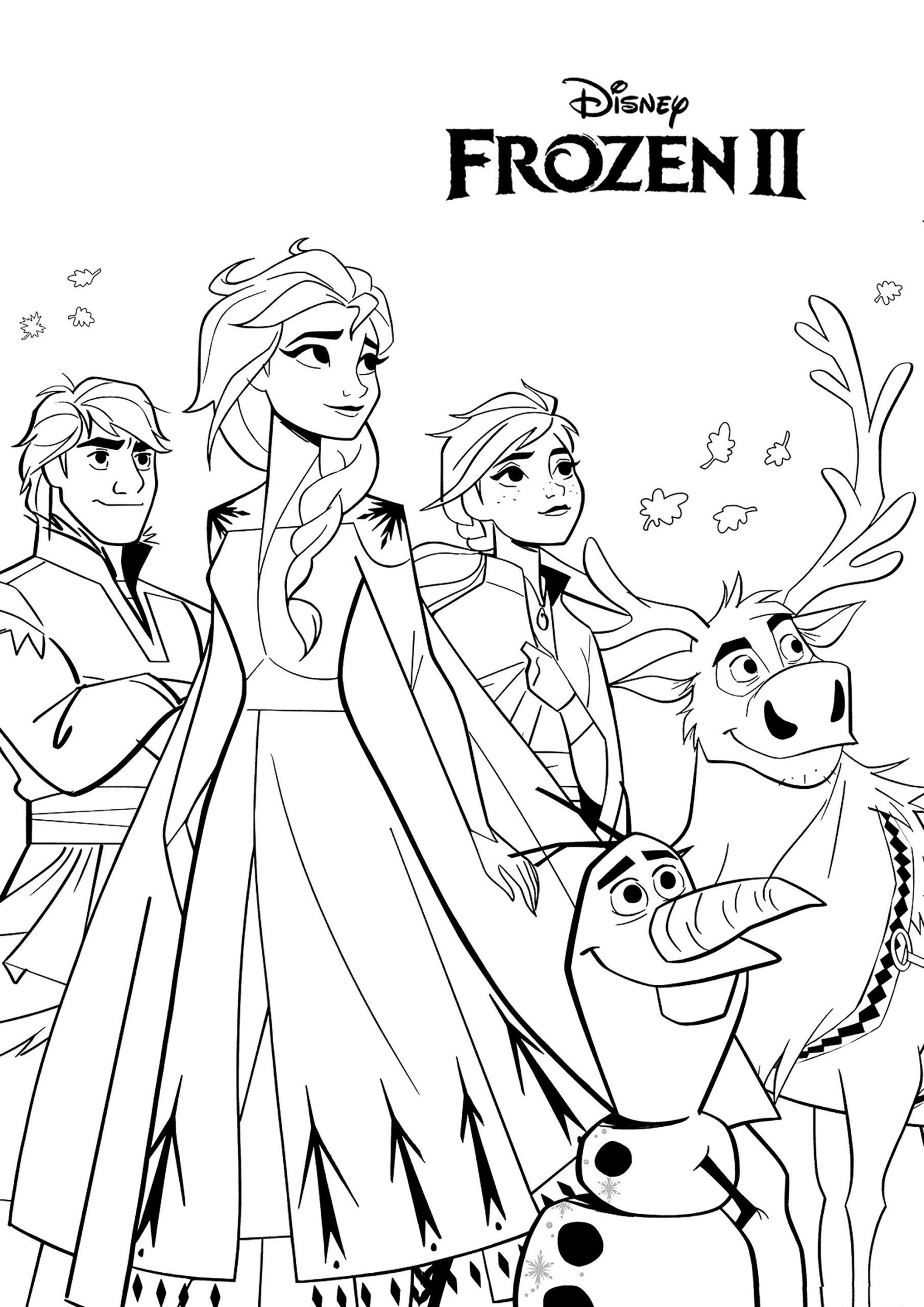 Tranh tô màu Elsa và những người bạn cực ngầu