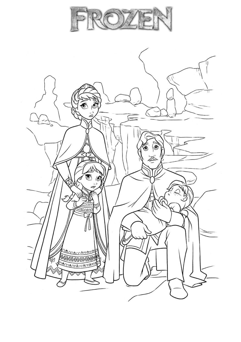Tranh tô màu gia đình Elsa lúc nhỏ
