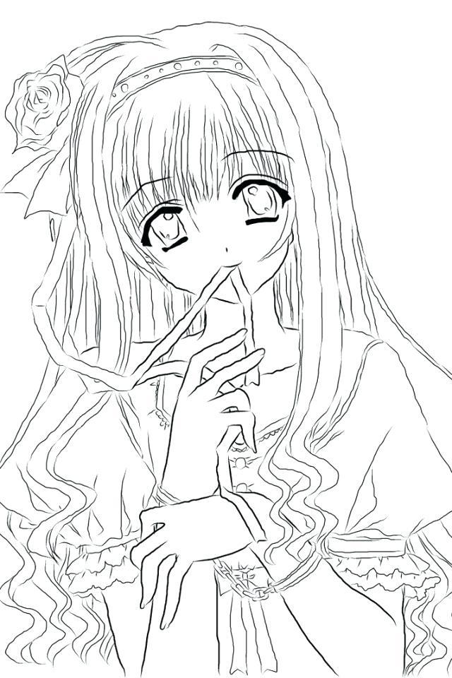Tranh tô màu girl anime dễ thương