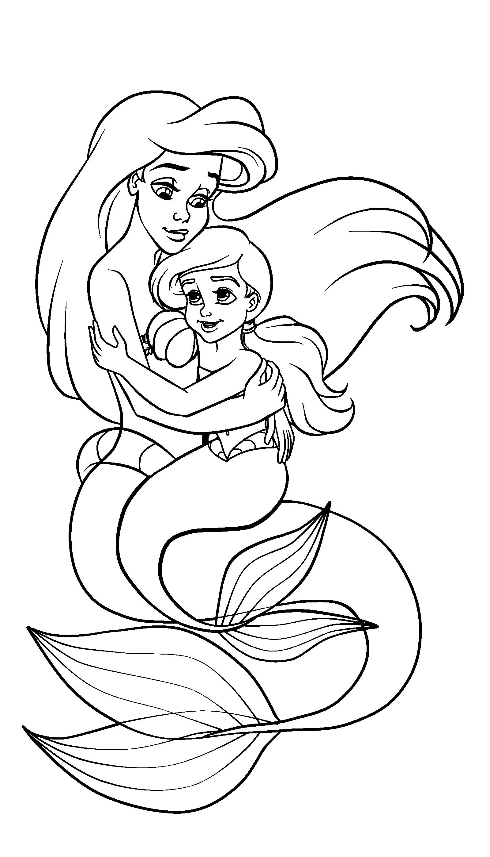Tranh tô màu mẹ con nàng tiên cá