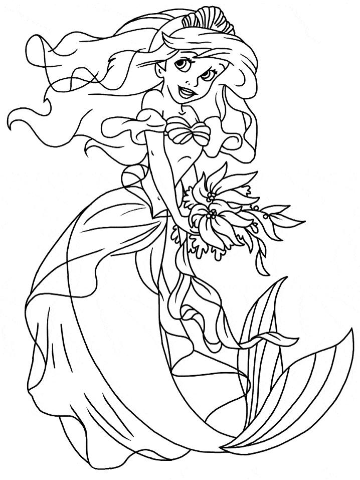 Tranh tô màu nàng tiên cá Ariel lộng lẫy