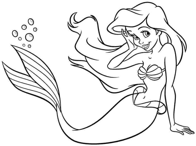 Tranh tô màu nàng tiên cá Ariel - Nàng công chúa của Disney