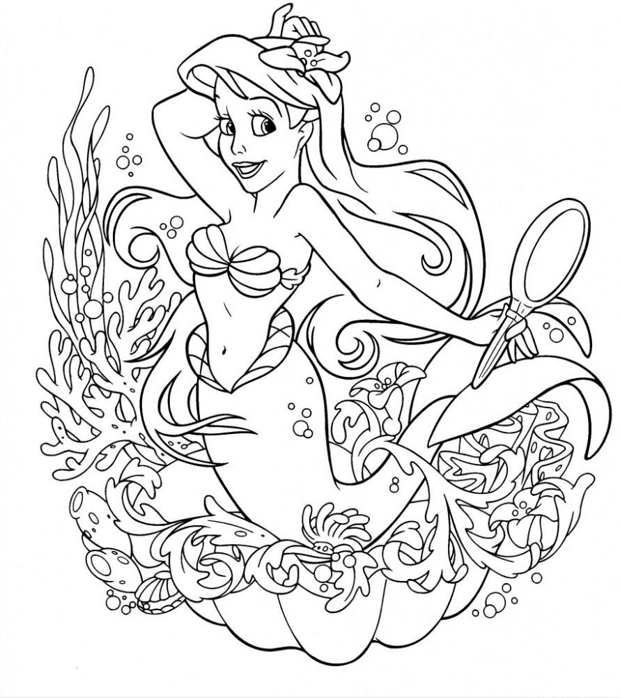 Tranh tô màu nàng tiên cá Ariel xinh đẹp