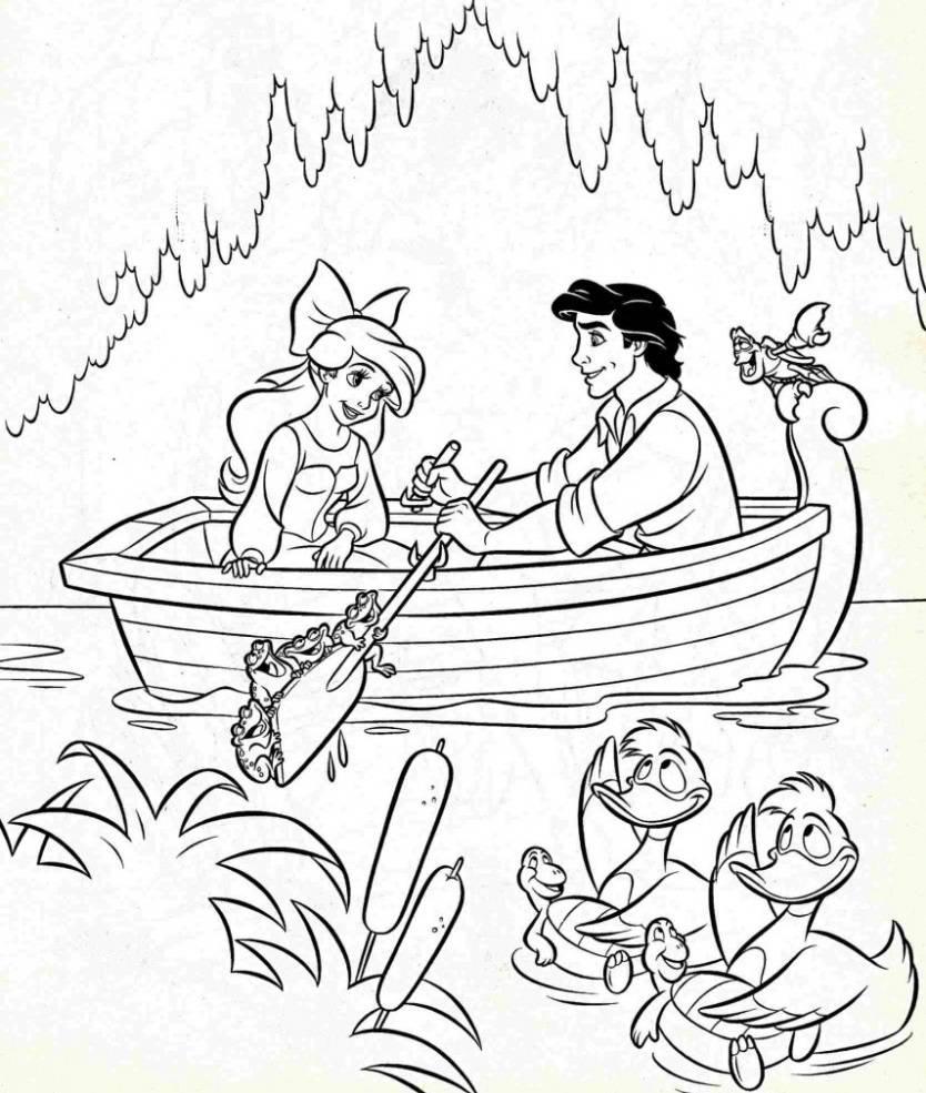 Tranh tô màu nàng tiên cá cùng hoàng tử