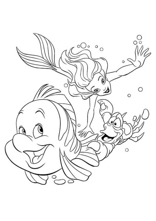 Tranh tô màu nàng tiên cá cùng những người bạn