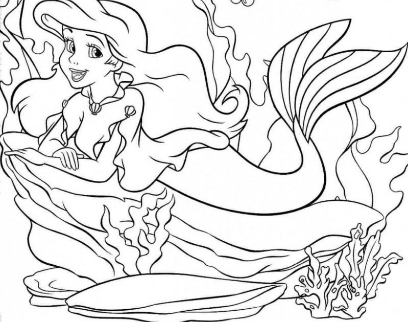 Tranh tô màu nàng tiên cá đẹp, dễ thươpng