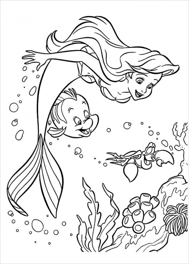 Tranh tô màu nàng tiên cá điệu đà, dễ thương