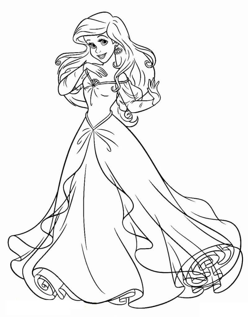 Tranh tô màu nàng tiên cá mặc váy