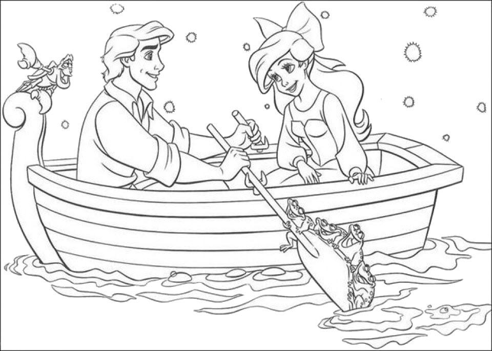 Tranh tô màu nàng tiên cá ngồi thuyền