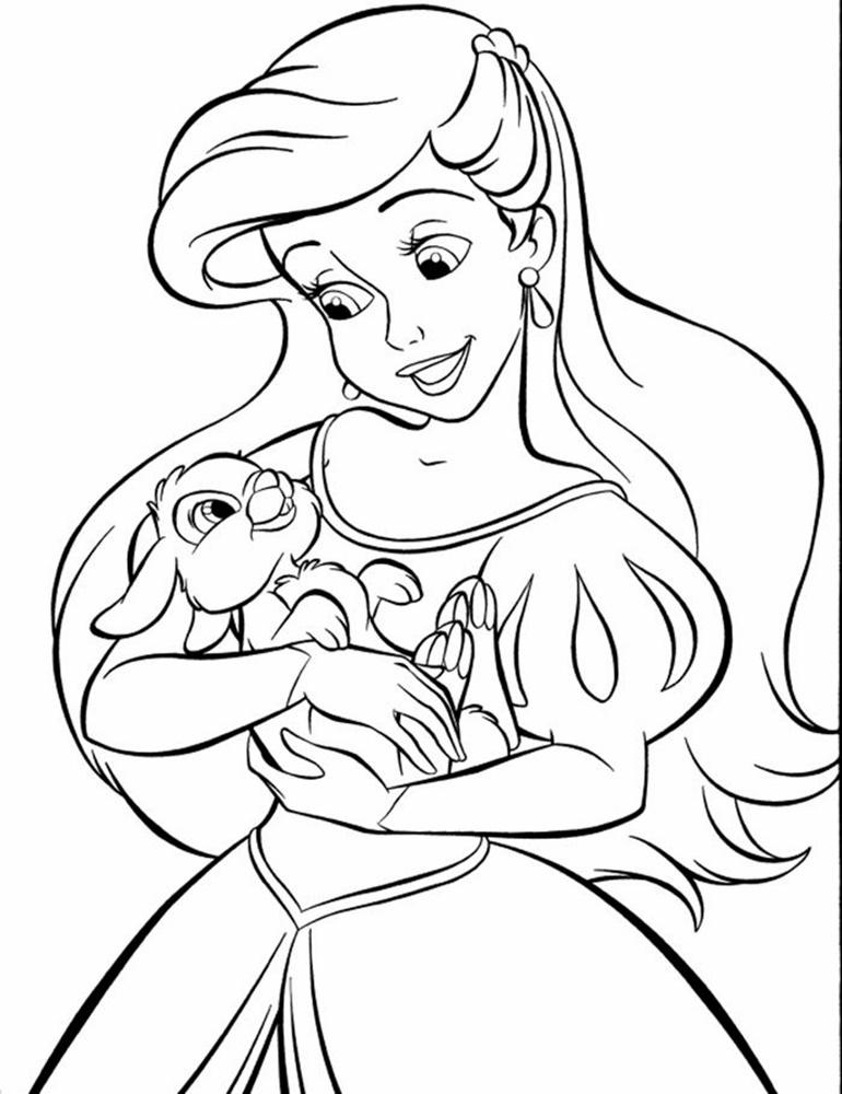 Tranh tô màu nàng tiên cá và bé thỏ