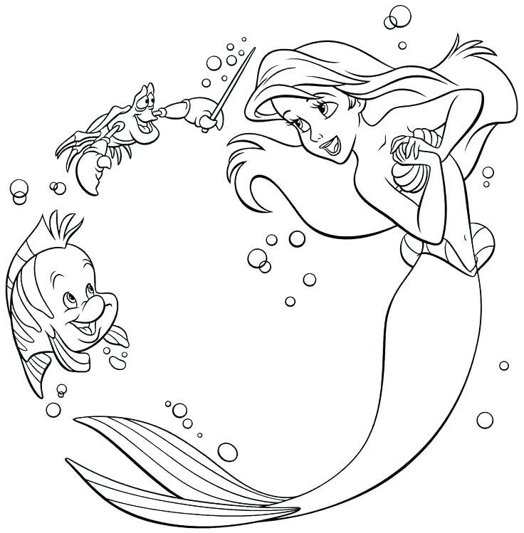 Tranh tô màu nàng tiên cá xinh đẹp dễ thương