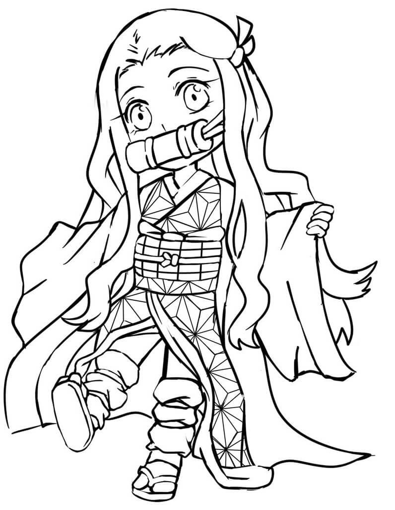 Tranh tô màu Nezuko đáng yêu