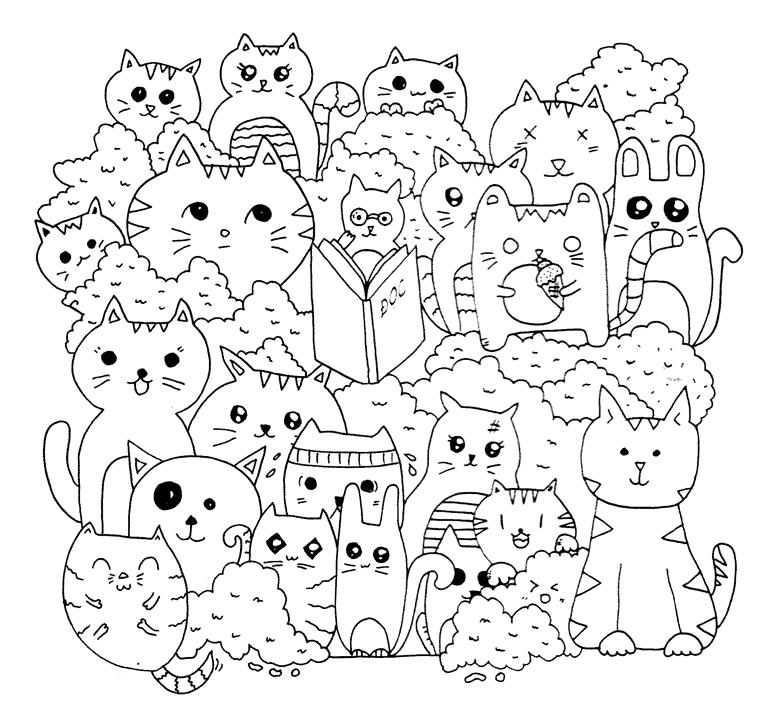 Tranh tô màu những chú mèo anime cực đẹp