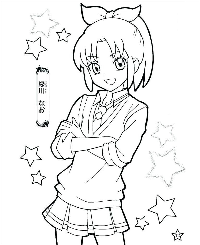 Tranh tô màu nữ sinh anime dễ thương cho bé