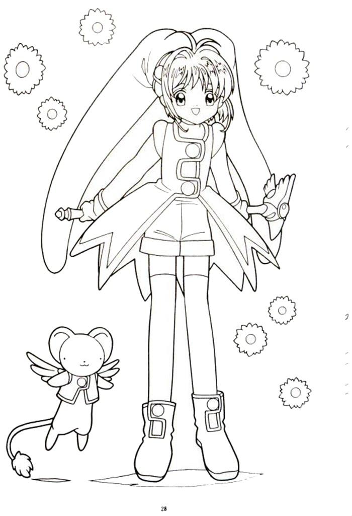 Tranh tô màu thủ lĩnh thẻ bài Sakura cho bé