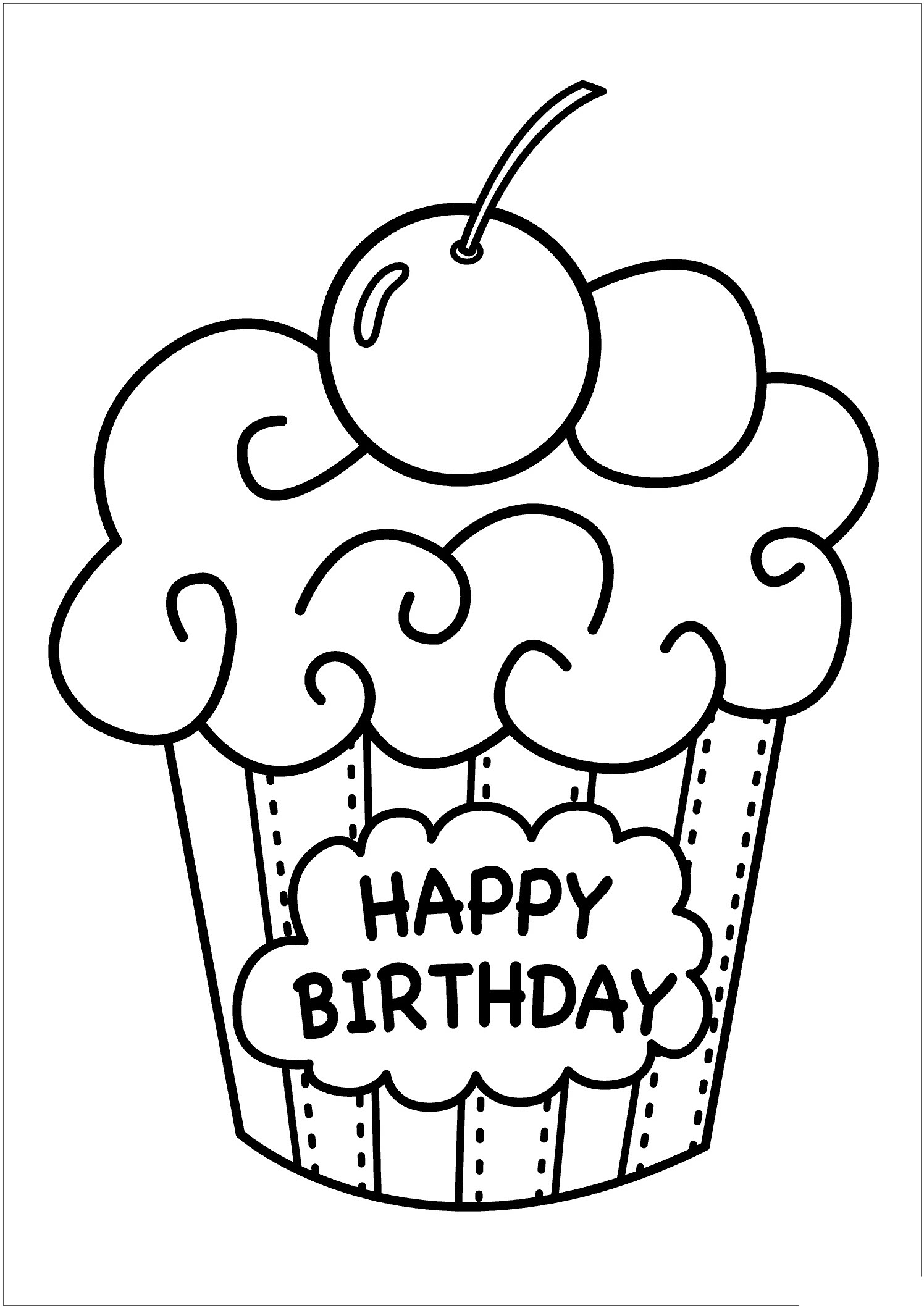 Cake Birthday Coloring Pages