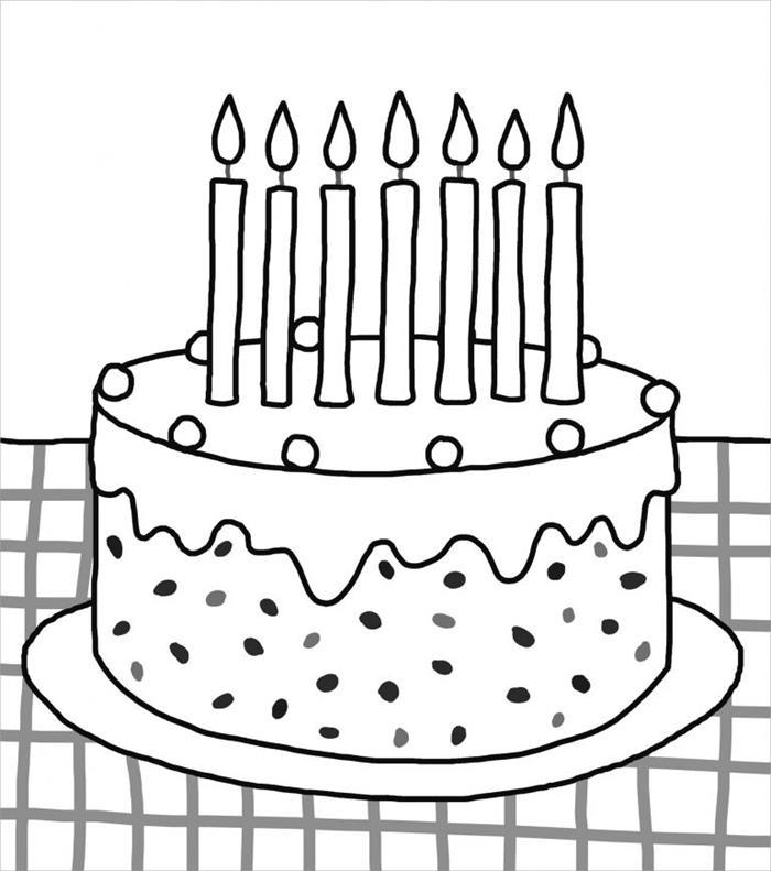 Tranh tô màu bánh kem sinh nhật cho bé