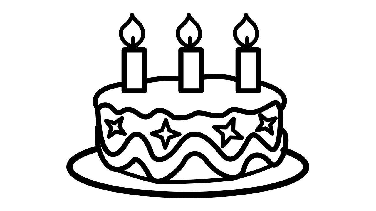 Tranh tô màu bánh sinh nhật 1 tầng