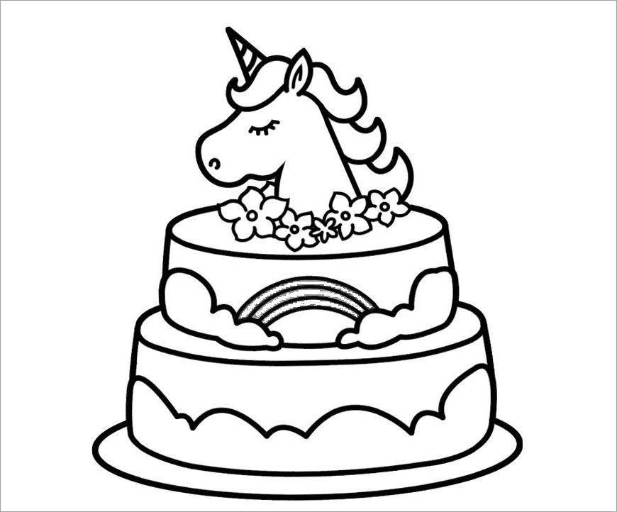 Tranh tô màu bánh sinh nhật 2 tầng đẹp