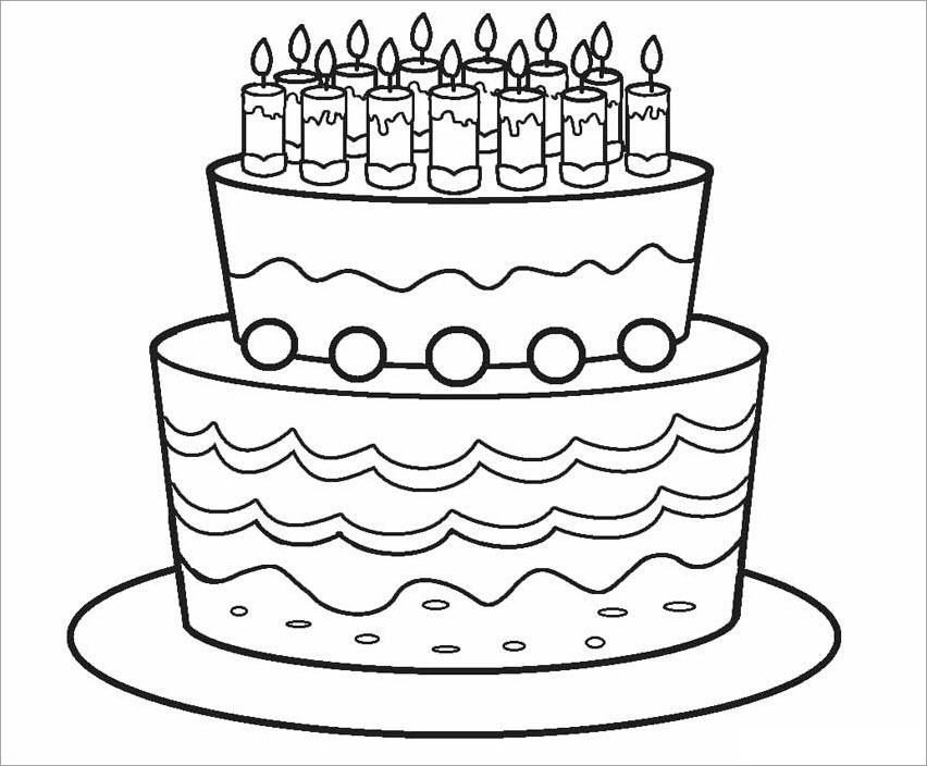 Tranh tô màu bánh sinh nhật 2 tầng
