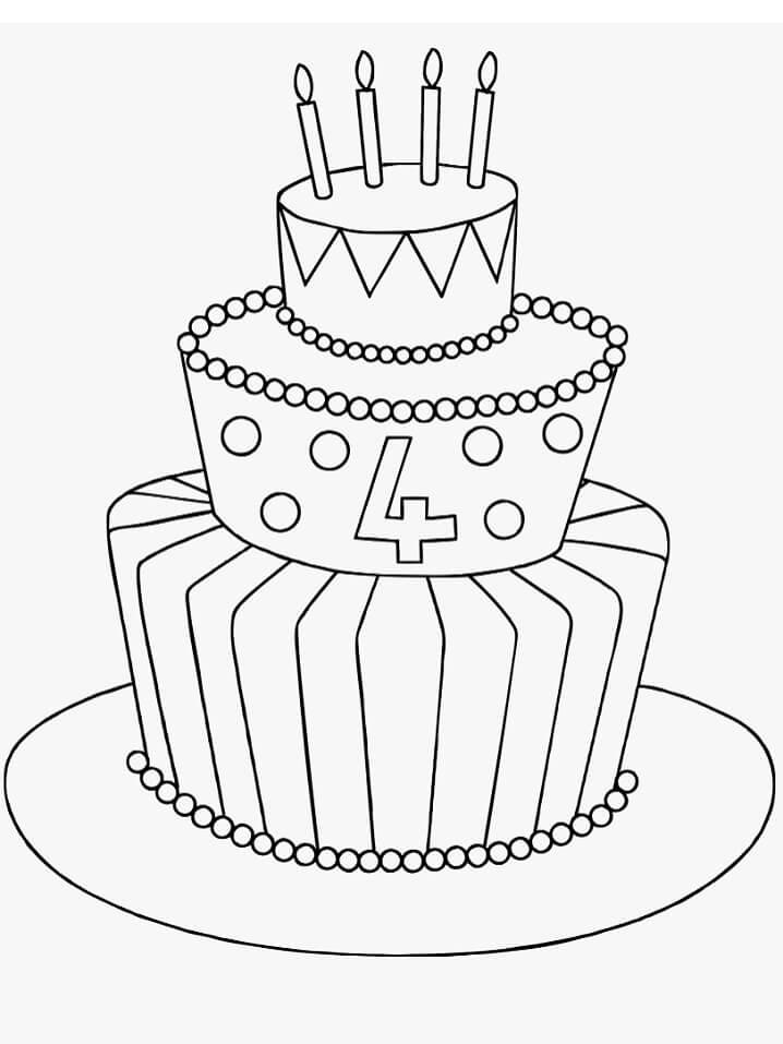 Tranh tô màu bánh sinh nhật 3 tầng đơn giản